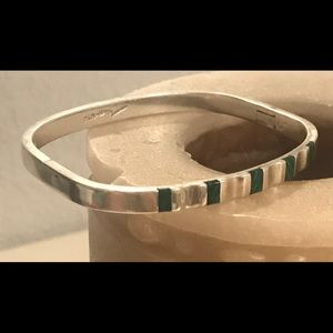 Vintage sterling silver and malachite bracelet